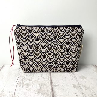 Navy Waves Cosmetic Bag
