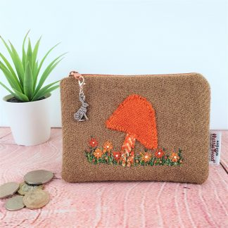 Orange Toadstool Hand Embroidered Harris Tweed Coin Purse