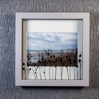 Hand painted teasel silhouettes casting 3D shadows over a sea view landscape photograph, framed picture by Pictures2Mixtures