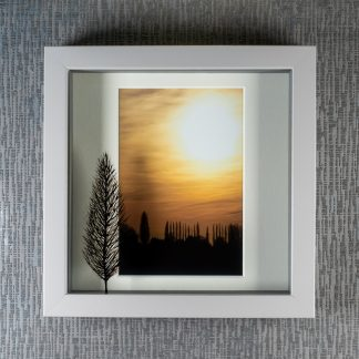 Hand painted tree silhouette creating 3D shadows over a golden French sunset photograph, framed picture by Pictures2Mixtures