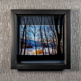 Hand painted tree silhouette casts shadows over a yellow bus & mountain view photograph, framed picture by Pictures2Mixtures