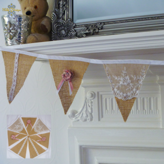 pink rose hessian bunting MollyG Designs