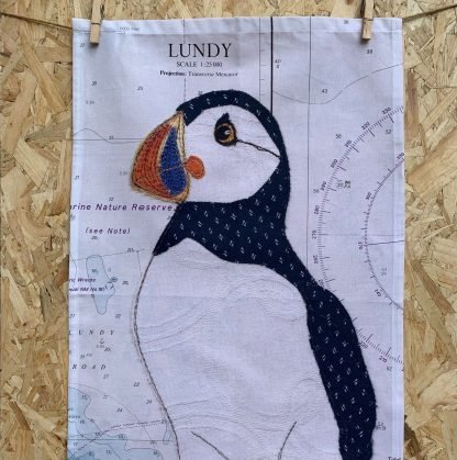 Puffin at Lundy tea towel by Hannah Wisdom Textiles