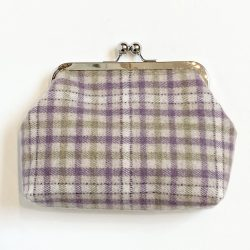 Purple Green Taupe Check Wool Tweed Clip Frame Purse