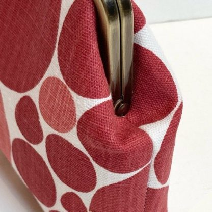 Red And Pink Spotted Linen Print Clip Frame Purse