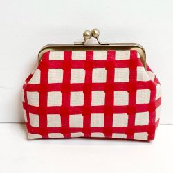 Red And Taupe Check Linen Print Clip Frame Purse