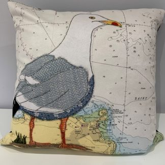 Seagull at St Ives cushion by Hannah wisdom Textiles