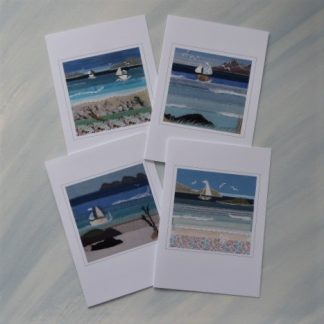 Set of 4 cards featuring textile seascape designs