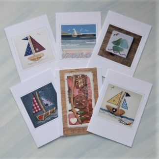 Set of cards with mixed driftwood and textile designs