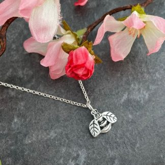 Silver bee necklace handmade by Laura Llewellyn Design