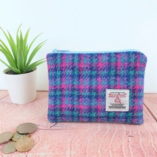 Turquoise and Pink Check Harris Tweed Coin Purse