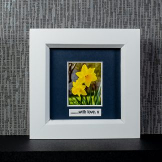 """Two yellow daffodils framed photo gift with optional """"With Love or """"Happy Mother's Day"""" message by Pictures2Mixtures"""