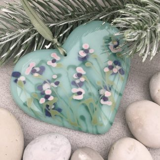 Viola Garden Heart made in fused glass and strung with satin ribbon