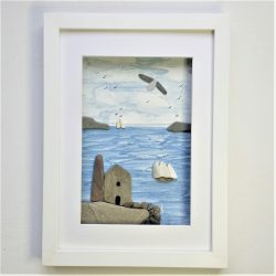 framed mixed media picture of Cornish tin mine engine house and sailing ships