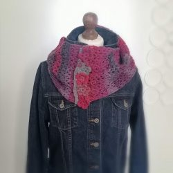 crocheted infinity scarf with fowers