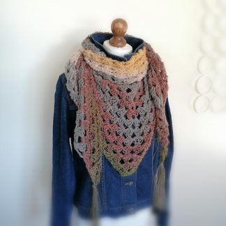 crocheted wrap in browns