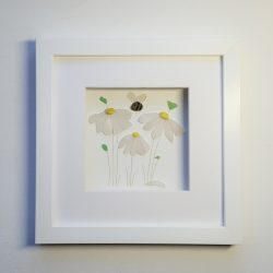 framed picture of daisies created from Cornish sea glass