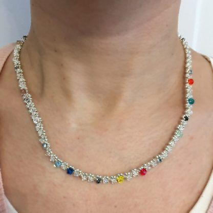 astrology necklace in clear crystal beads when worn