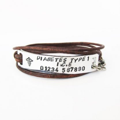 personalised medical allergies/conditions leather wrap bracelet