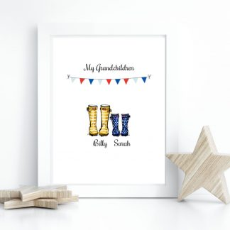Grandchildren personalised welly boot gift print