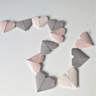 pink and grey origami hearts decoration