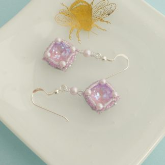 Lilac pink and grey crystal dangle earrings