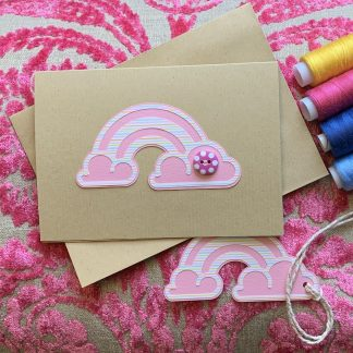 rainbow card pink with matching gift tag
