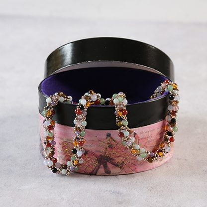 Multi-coloured beadwork gemstone necklace in up-cycled gift box decorated in mixed media