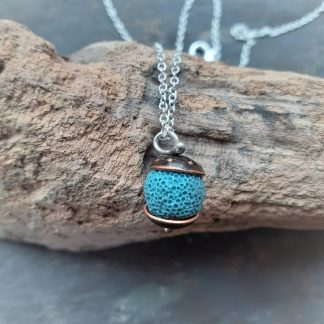 Recycled copper acorn pendant with turquoise lava rock bead
