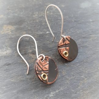 recycled copper earrings with groove texture and silver earwires
