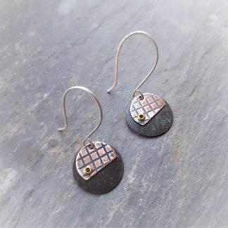 recycled copper earrings with criss cross texture silver earwires