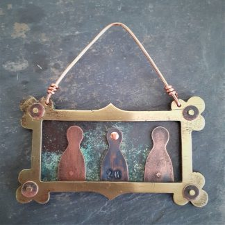 recycled copper keep your 2m distance hanging piece