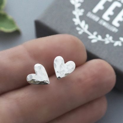 Dainty sterling silver hammered heart studs