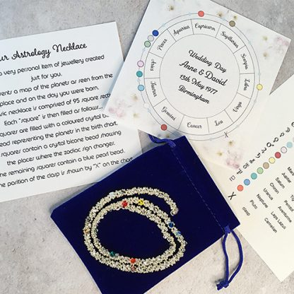 astrology necklace with information sheets