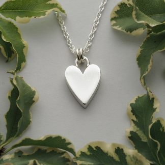 handmade solid sterling silver chunky heart pendant necklace on a rope chain
