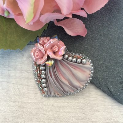Pink and grey shibori bead embroidered heart brooch