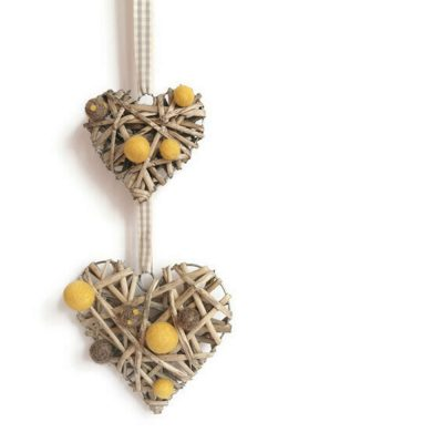 wicker heart hanging decoration with yellow and grey wool balls