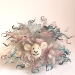 decorative sheep made with hand dyed wool fleece curls
