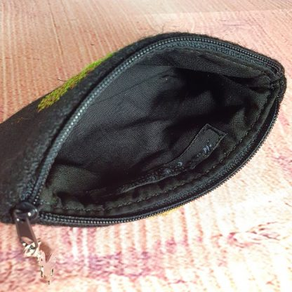 Black Harris Tweed Coin Purse with Hand embroidered Tree