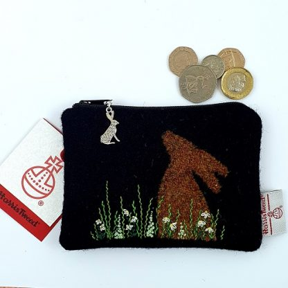 Black Harris Tweed Coin Purse Hand Embroidered with Hare