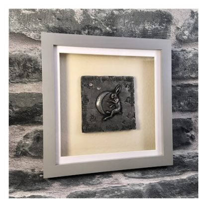 Handmade Pewter plaque with a Hare and a moon mounted in a grey box frame