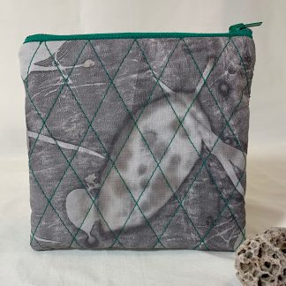 Grey and green cotton makeup bag, pouch