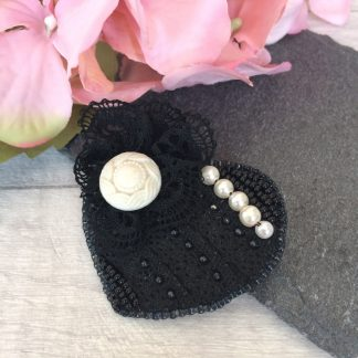 Vintage black lace and pearl bead embroidered heart brooch