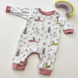 Rabbit print long sleeve baby romper