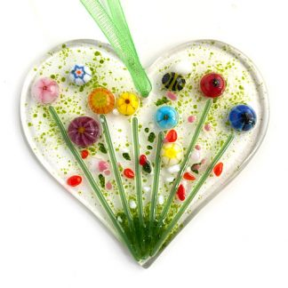Fused glass flower heart