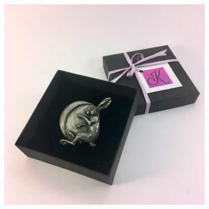 Hare and Moon brooch pin in decorated box