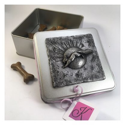 Square tin with a plaque on the lid showing a leaping red squirrel in Pewter
