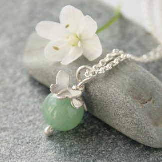 amazonite and silver butterfly necklace by Thistledown Wishes