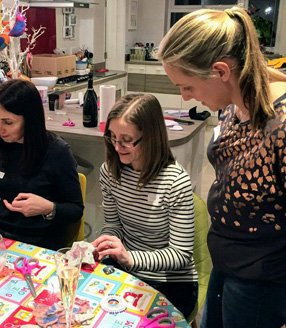 Andria from Oh Sew Creative teaching at a Fizz & Feltmaking evening