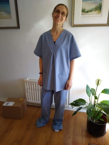 Oh Sew Creative business owner wearing scrubs made for the NHS